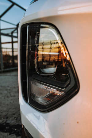 Headlight lamp of new cars,copy space. Car headlight with shallow depth of field