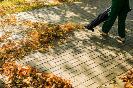 In the autumn park worker removes the road from the fallen leaves with help Stock fotó