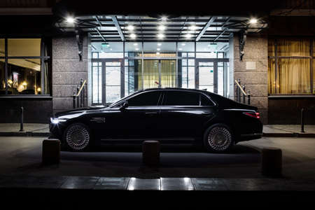 Russia , Nizhny Novgorod - October 24, 2019: new luxury car genesis g 90. Security. Control of the road. Luxurious interior. Precision in every detail.