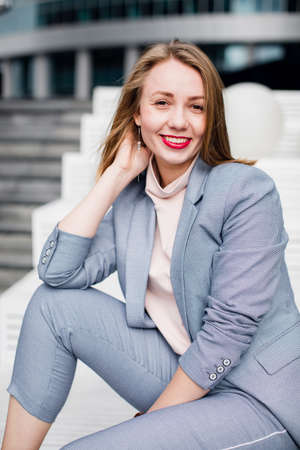 young happy business woman laughing. beautiful smile