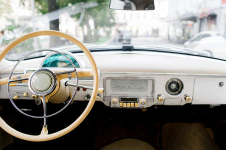Interior of a classic vintage car. Old car.