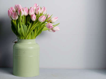 patter for spring card. Bouquet of pink tulips. copy space