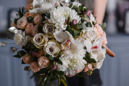Close-up Large Beautiful bouquet of mixed flowers. Flower background and Wallpaper. Floral shop concept . Beautiful fresh cut bouquet. Flowers delivery Banco de Imagens - 137890160