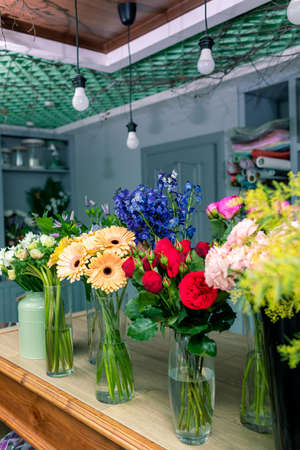 Floral shop concept . Beautiful bouquet of mixed flowers. Handsome fresh bunch. Flowers delivery