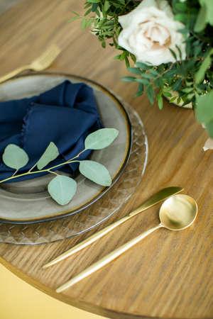 table setting for honeymooners. Romantic dinner setting Stock Photo