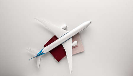 airplane and passports. travel concept. white background