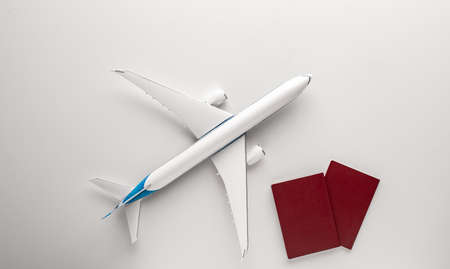 airplane and passports. travel concept.
