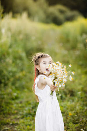 portrait little cute girl with flowers. Girl in the garden with a bouquet of chamomile