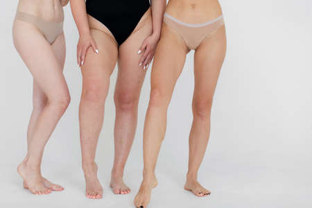 friendship, beauty, body positive and people concept - group of happy women different in underwear over gray background Banco de Imagens