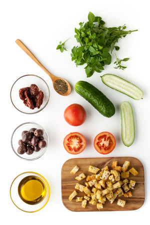 Ingredients for panzanella salad top view