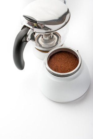 with coffee maker: Open coffee maker with coffee on the white background vertical