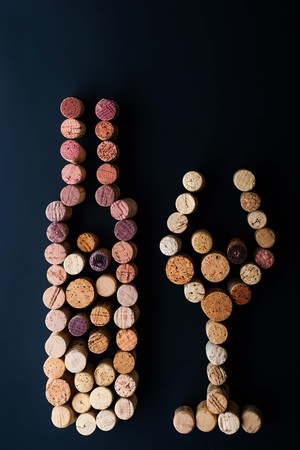 winy: Wine bottle and glass made by corks vertical Stock Photo