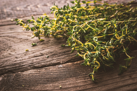 piquancy: Bunch of thyme on the old wooden board horizontal Stock Photo