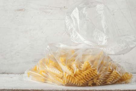 pasta: Pasta on the cellophane package horizontal Foto de archivo
