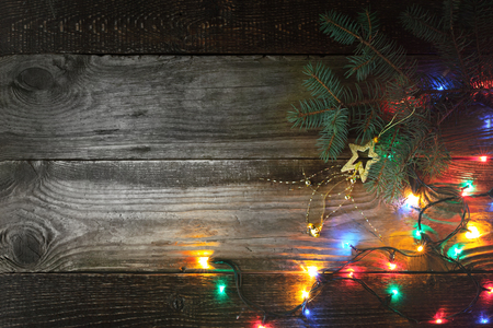 festoon: Christmas background with fir tree and festoon