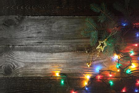 festoon: Christmas background with fir tree and festoon