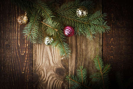fir  tree: Fir tree with Christmas decoration  on the wooden board
