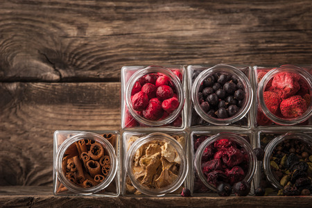 mulled wine spice: Set for mulled wine on a wooden table horizontal Stock Photo