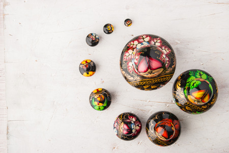 matreshka: Matreshka set on the white wooden table