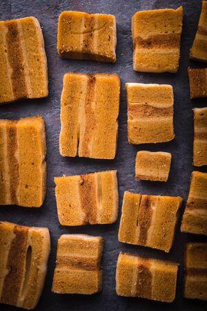 pastila: Pastila pieces on the stone background vertical Stock Photo
