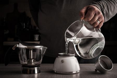 and the horizontal man: Man making coffee horizontal