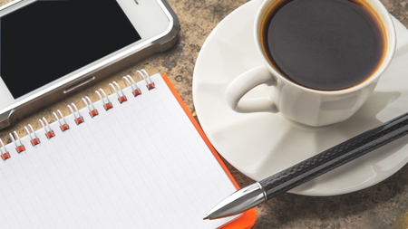 Coffee break set on the stone table