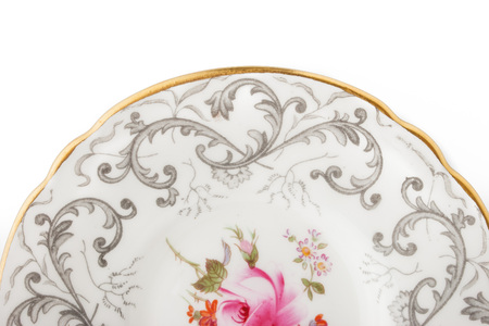 ornamentations: Part of  china plate on the white background