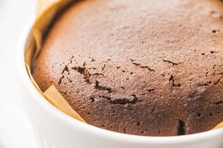 ramekin: Chocolate fondant in the ramekin close-up