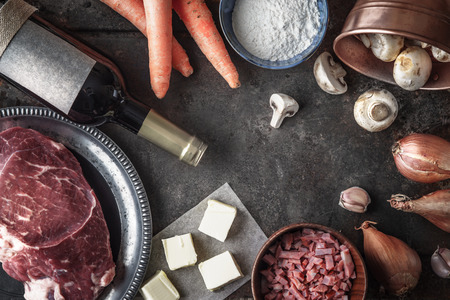 Ingredients for Boeuf Bourguignon on the old metal background, top view Stock Photo