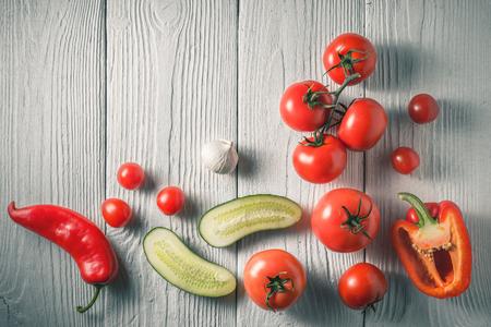 gazpacho: Ingredients for gazpacho soup on white boards horizontal Stock Photo