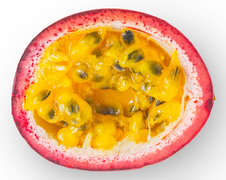 Half of passion fruit on the white background top view