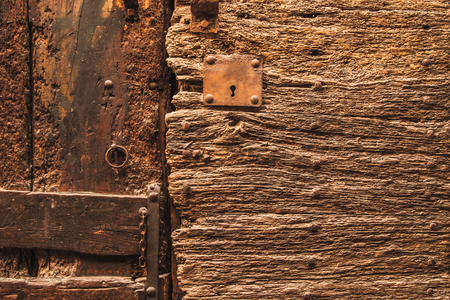 hasp: Fragment of old wooden door Stock Photo