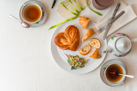 desayuno romantico: Romantic breakfast on the white table horizontal