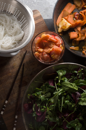 Funchos and pickled carrots, ginger and lettuce. Asian cuisine Stock Photo