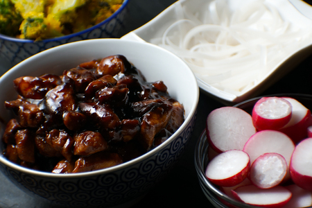 Pieces of teriyaki chicken, rice vermicelli and radish on the table close-up. Asian cuisine