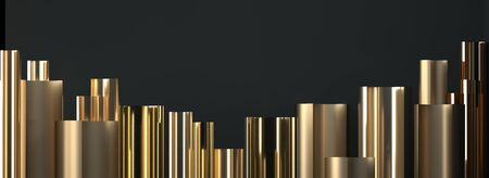 Abstract image of golden cylinders art deco 3 D image