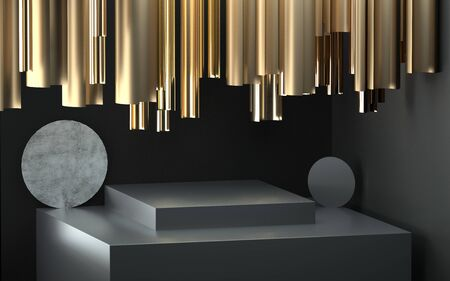 Abstract image of golden cylinders over a stone pedestal 3D image 스톡 콘텐츠