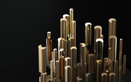 Abstract image of golden cylinders side view 3D image 스톡 콘텐츠