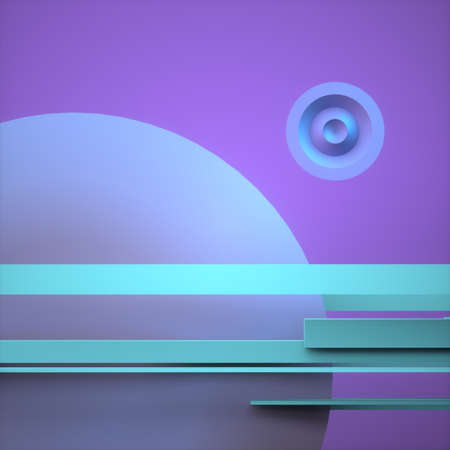 Abstract image of planets pop art 3D image square