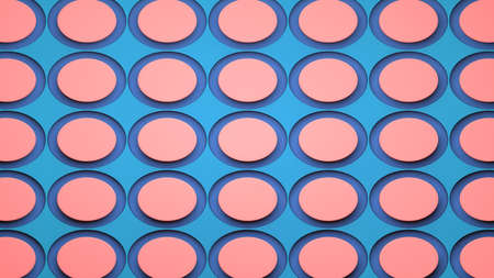 Abstract image of slices of ham on a blue background 3D image horizontal