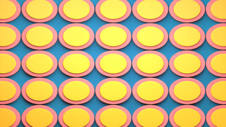 Abstract image of slices of ham and eggs on a blue background 3D image horizontal