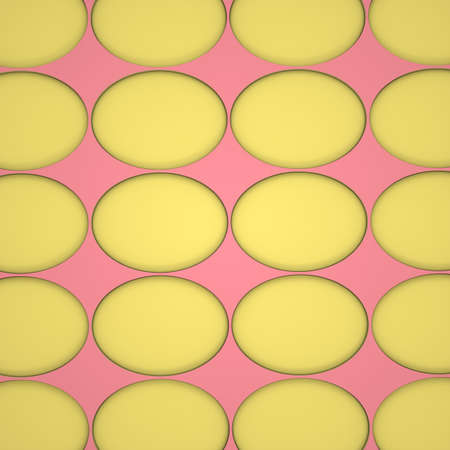 Abstract image of yellow eggs on a pink background 3D image square