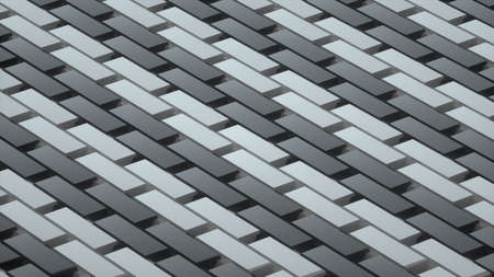 Abstract image of a rhythmic pattern of gray rectangles at an angle 3D image