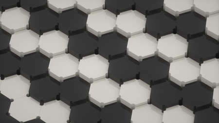 Abstract image of a diagonal pattern of black and gray hexagons 3D image Stock Photo