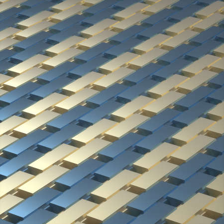 Abstract image of a rhythmic pattern of blue and gold rectangles at an angle 3D image