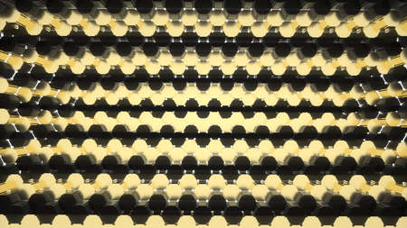 Abstract image of a background of gold and black hexagons 3D image Stock Photo