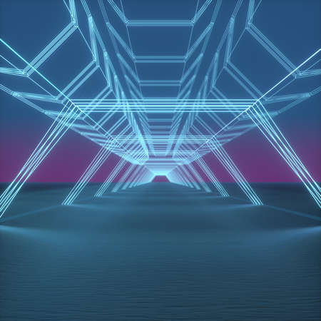 Abstract image of a bridge made of neon tubes 3D image