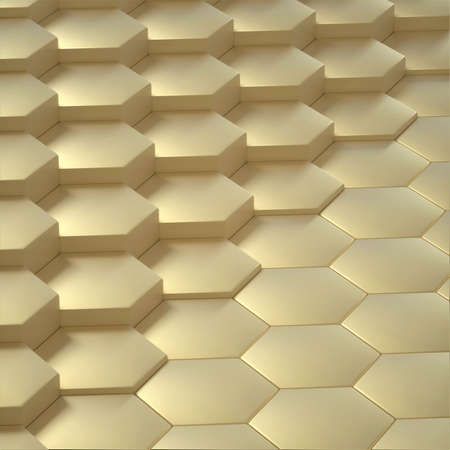 Abstract image of a background of Golden hexagons close up different level 3D image