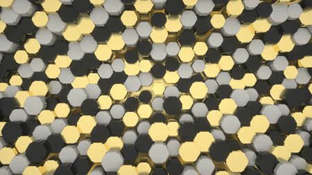 Abstract image of a background of black and gold and gray hexagons 3D image