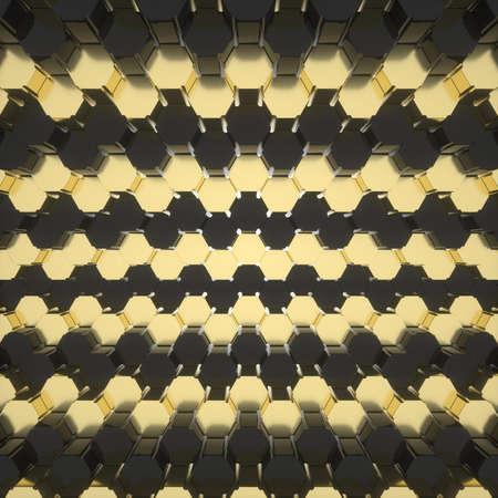 Abstract image of a hexagon background with a tightening effect close up 3D image Stock Photo